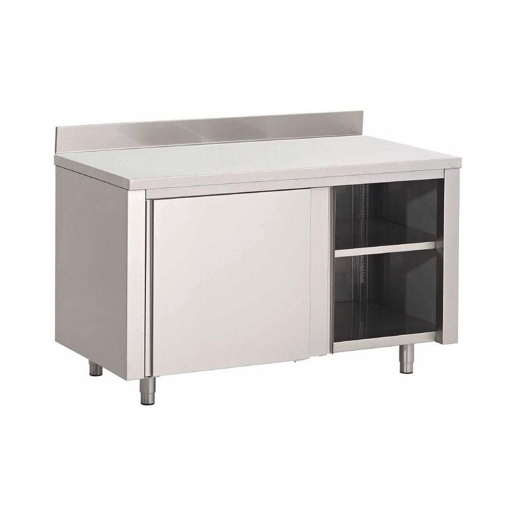 table armoire inox avec portes coulissantes et tag re sup rieure 1. Black Bedroom Furniture Sets. Home Design Ideas
