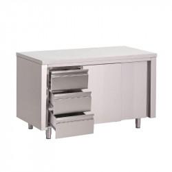 Table armoire inox avec portes coulissantes et 3 tiroirs 1400x700x850mm Gastro-M