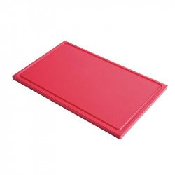 Gastro-M GN1/2 HDPE chopping board with groove - red 15mm