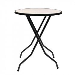 Table haute Barcelona gris martelé, plateau granit 85cm