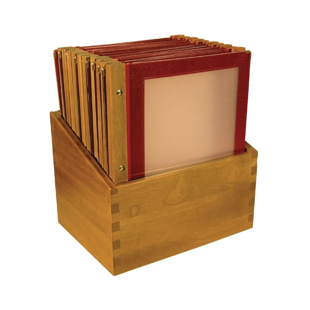 porte menu cadre bois rouge a4 colis de 20 pr sentoir securit. Black Bedroom Furniture Sets. Home Design Ideas