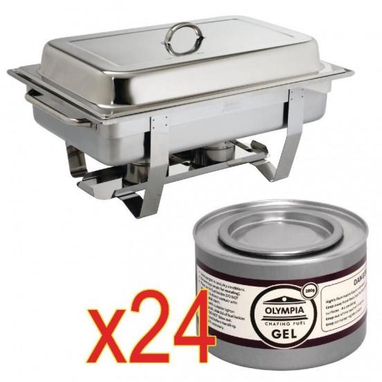 Chafing dish Milan GN 1/1 avec 24 boîtes de gel combustible