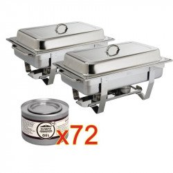 2 x chafing dish Milan GN 1/1 avec 72 boîtes de gel combustible OLYMPIA Chafing Dish