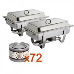 2 x chafing dish Milan GN 1/1 avec 72 boîtes de gel combustible
