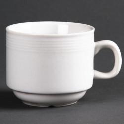 Lot de 12 tasses à thé empilable Linear porcelaine 200ml OLYMPIA Tasses