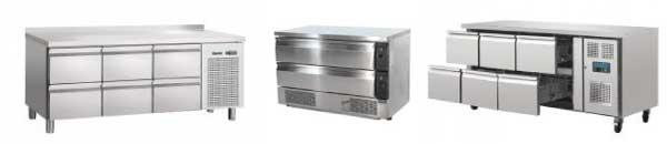 Table, meuble, desserte (sur pieds ou sur roulettes) avec soubassements réfrigérés pour stockage, à tiroirs télescopiques